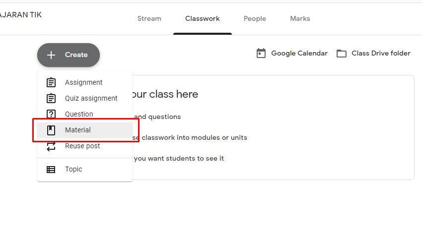 cara membuat materi di Google classroom