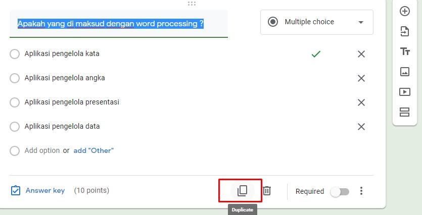 Menduplikasi soal di google form