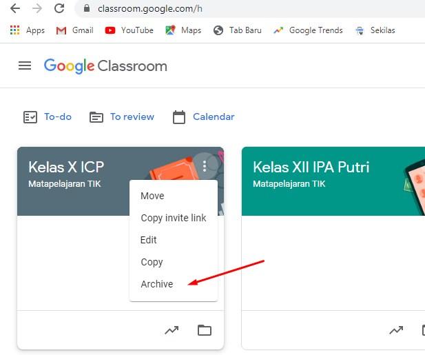 Cara Mengarsipkan Kelas Di Google Classroom Menggunakan PC