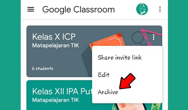 Cara Mengarsipkan Kelas Di Google Classroom Menggunakan HP
